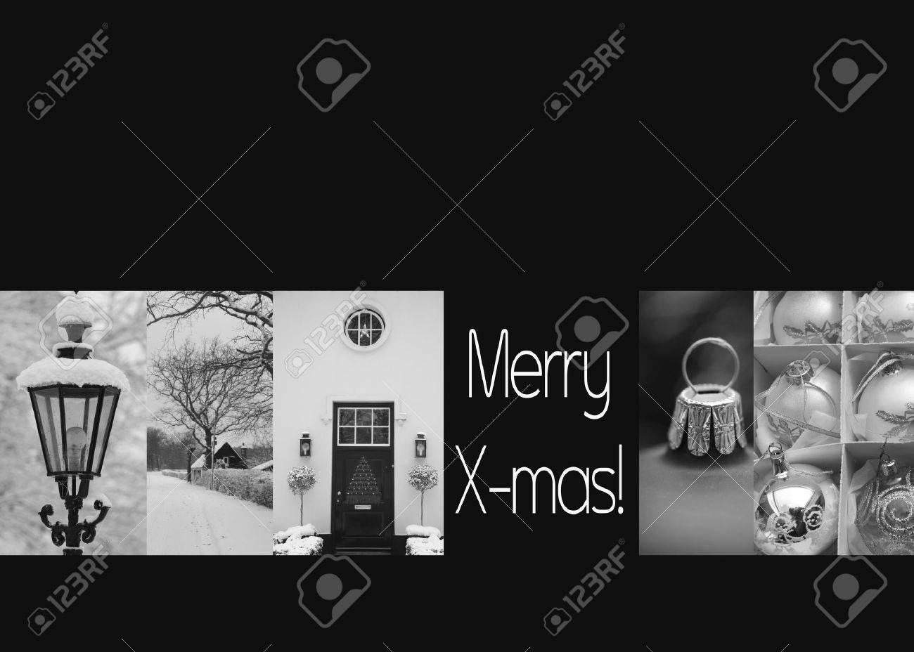 Noir Et Blanc De Noël Collage De Cartes Prêt à Imprimer