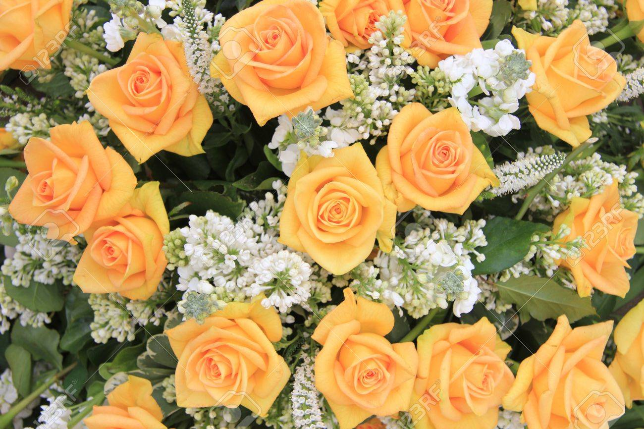 Wedding Flower Arrangement With Yellow Roses And White Common ...