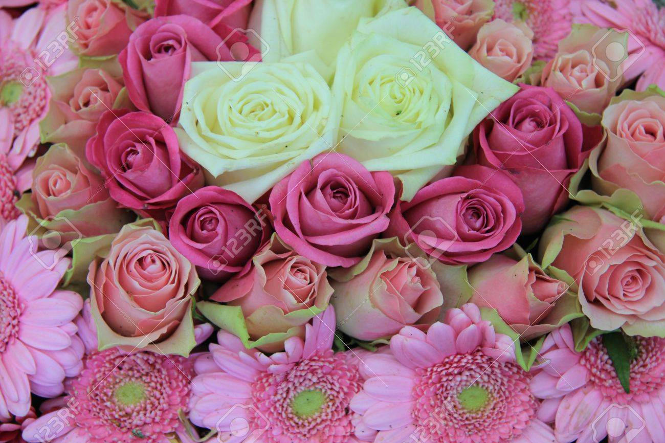 Wedding Flowers White And Pink Flower Arrangement Roses And