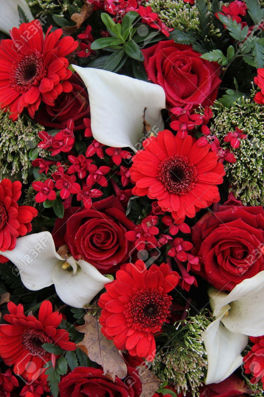 Rosas Rojas Y Gerberas En Combinación Con Calas Blancas En Un Arreglo De Flores