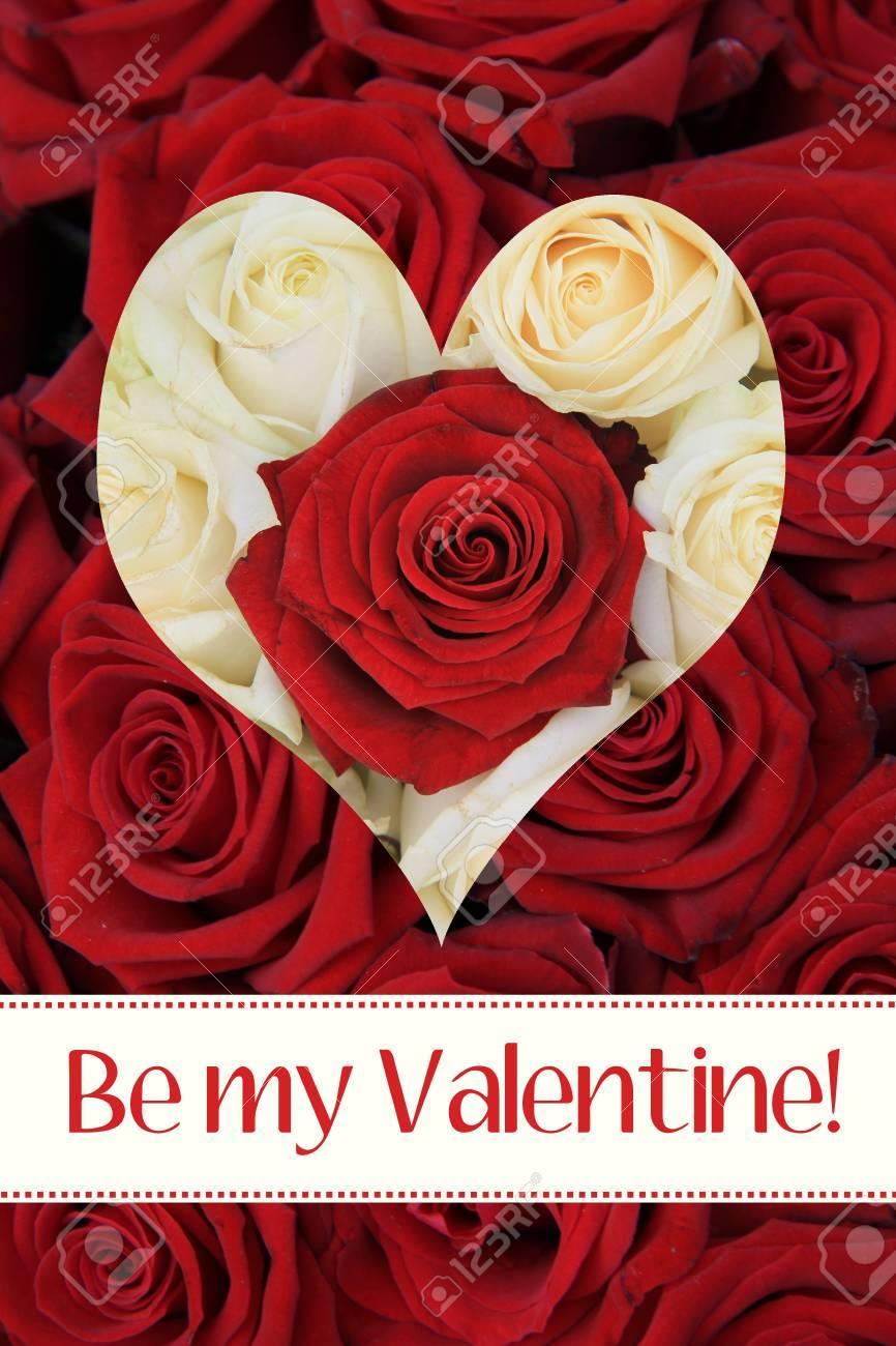 Listo Para Imprimir Tarjeta De San Valentín Rosas Blancas Y Rojas Y