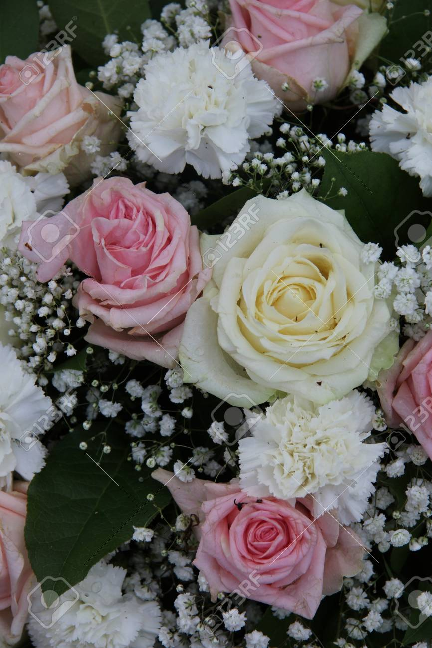 Bridal Flower Arrangement Roses And Carnations In Pink And White