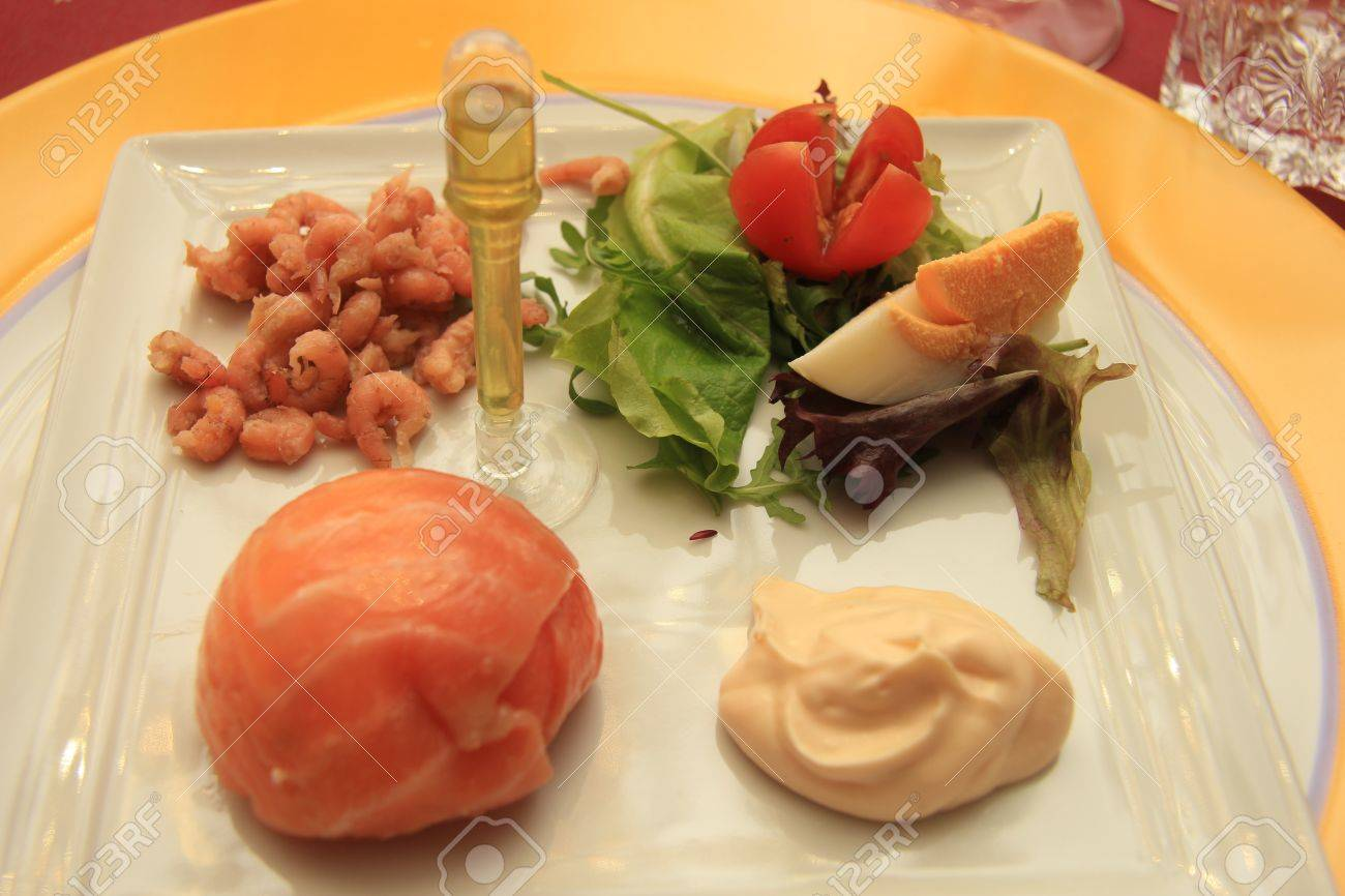 Smoked Salmon Praline Starter Served With Shrimps Dressing Stock Photo Picture And Royalty Free Image Image 17164264
