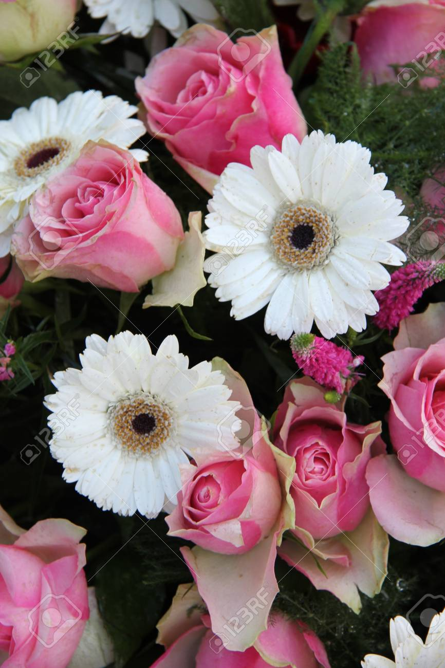 Pink Roses And White Gerberas In A Wedding Flower Arrangement Stock