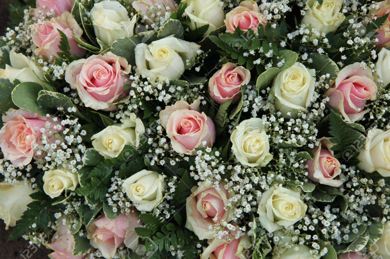 Wedding flowers in pink and white roses and gypsophila stock photo stock photo wedding flowers in pink and white roses and gypsophila mightylinksfo