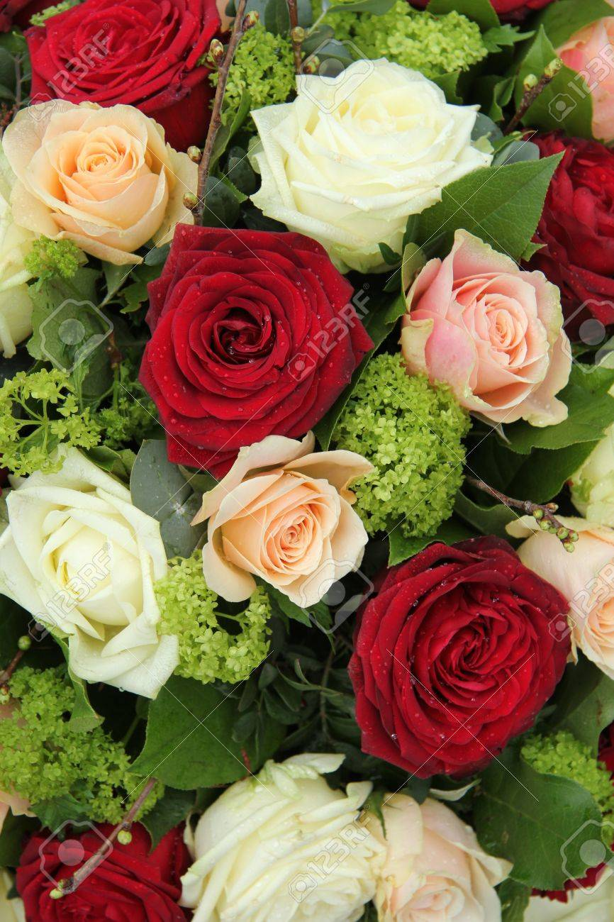 Bridal Flower Arrangement In Red Pink And White Big Roses Stock