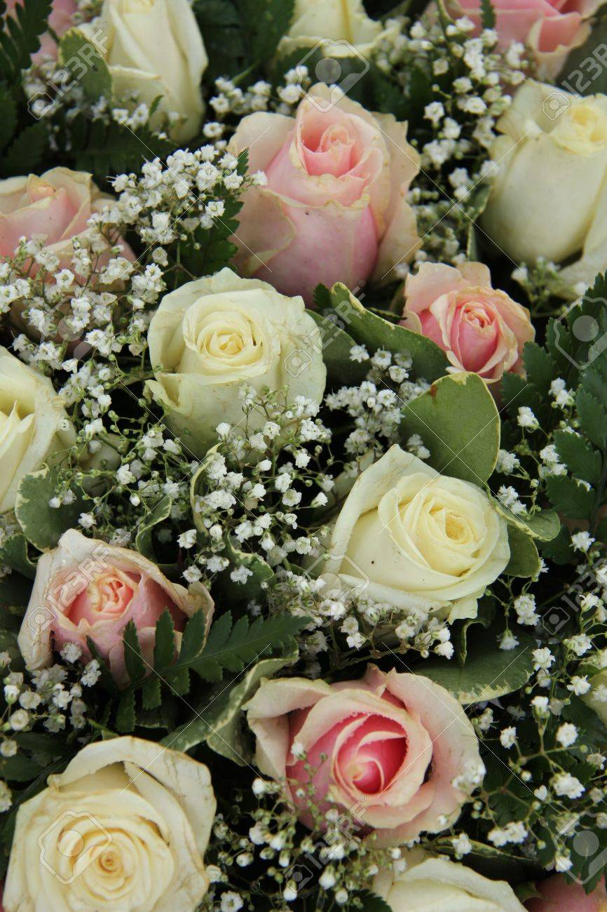 Wedding Flowers In Pink And White Roses Gypsophila Stock Photo