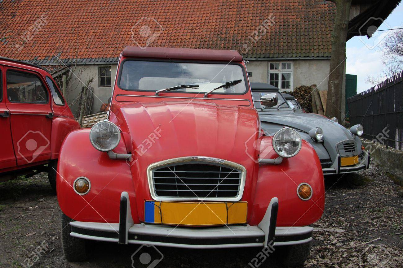 Vintage French cars in red and grey Stock Photo - 19223529