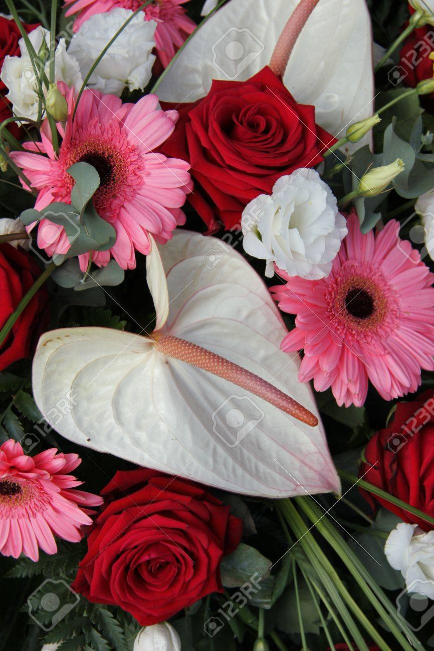 Anthurium Roses And Gerberas In Red Pink And White In A Bridal