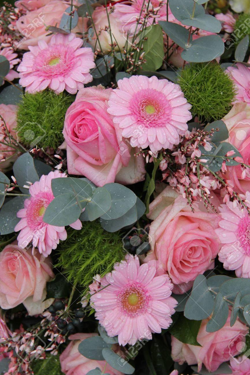Pink Roses, Gerberas And Eucalyptus In A Pink Wedding Flower.. Stock ...
