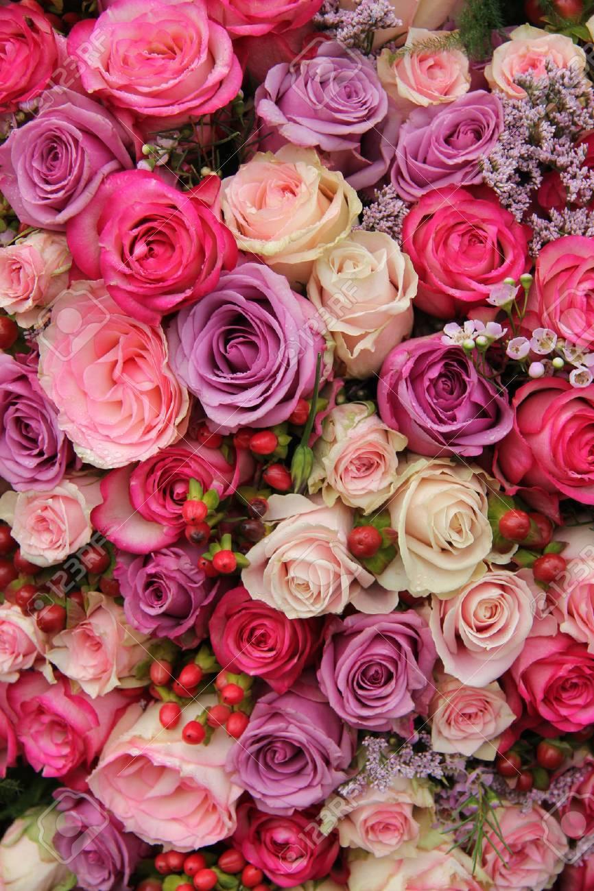 Wedding flowers: roses in various pastel colors - 22676043