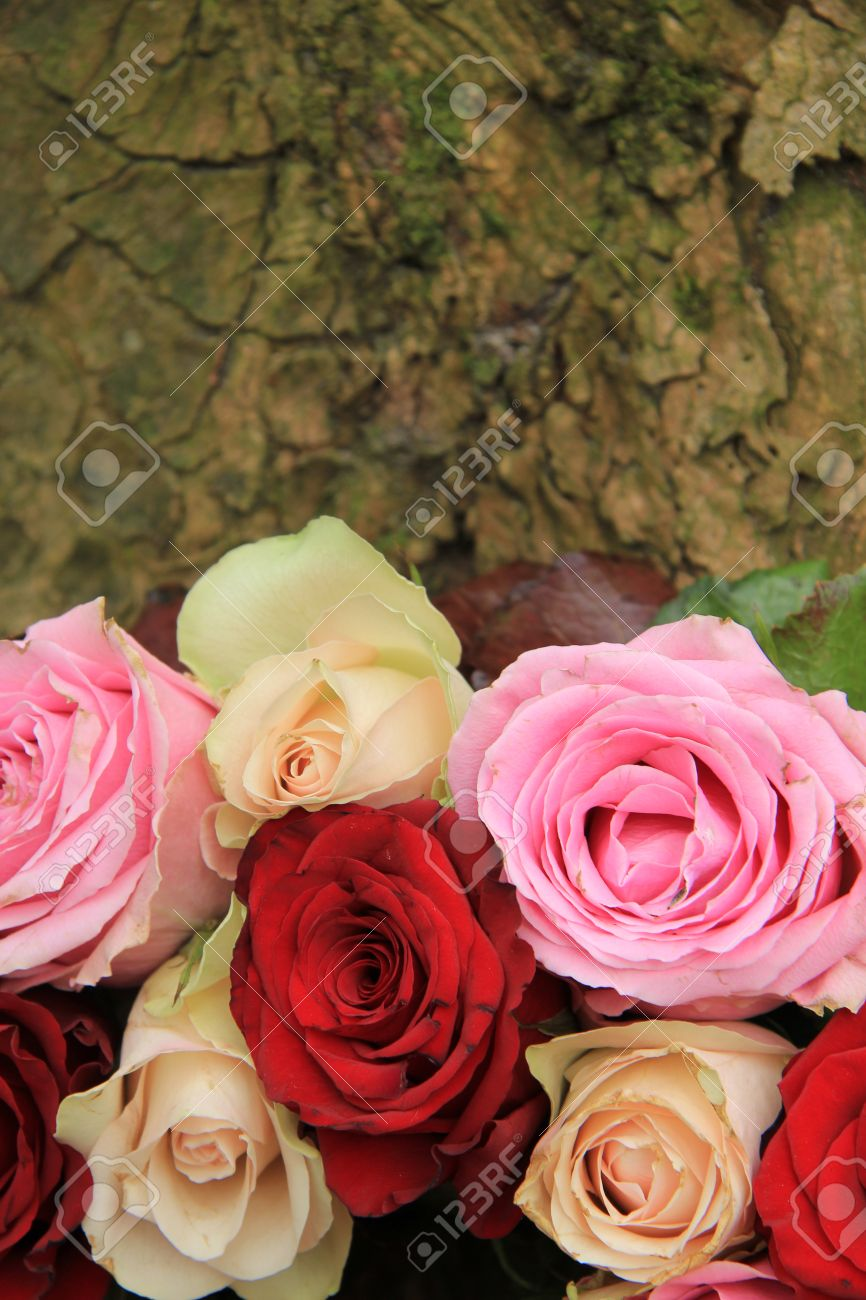 Wedding Flowers In Different Shades Of Pink And Red Roses Stock