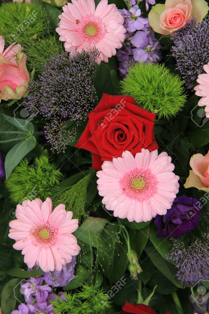 Bridal Decorations Roses And Gerberas In Red And Pink Combined