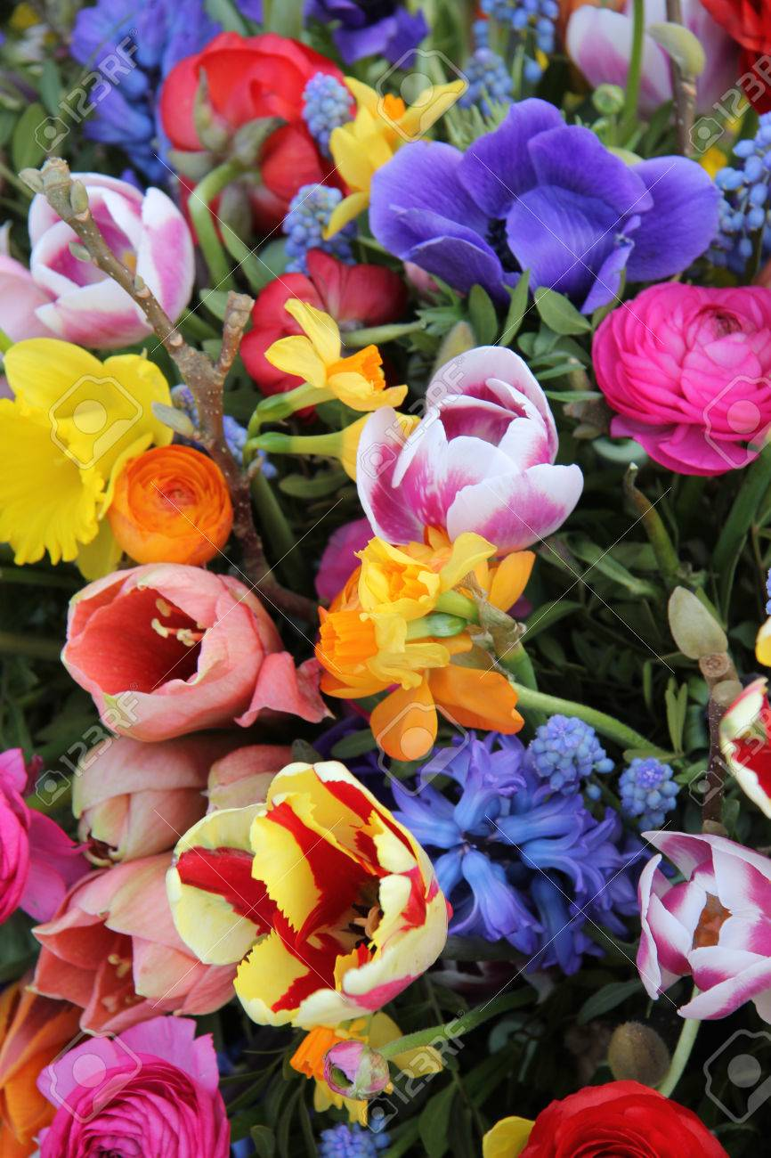 Mixed Spring Flowers In An Arrangement Bright Colors Stock Photo