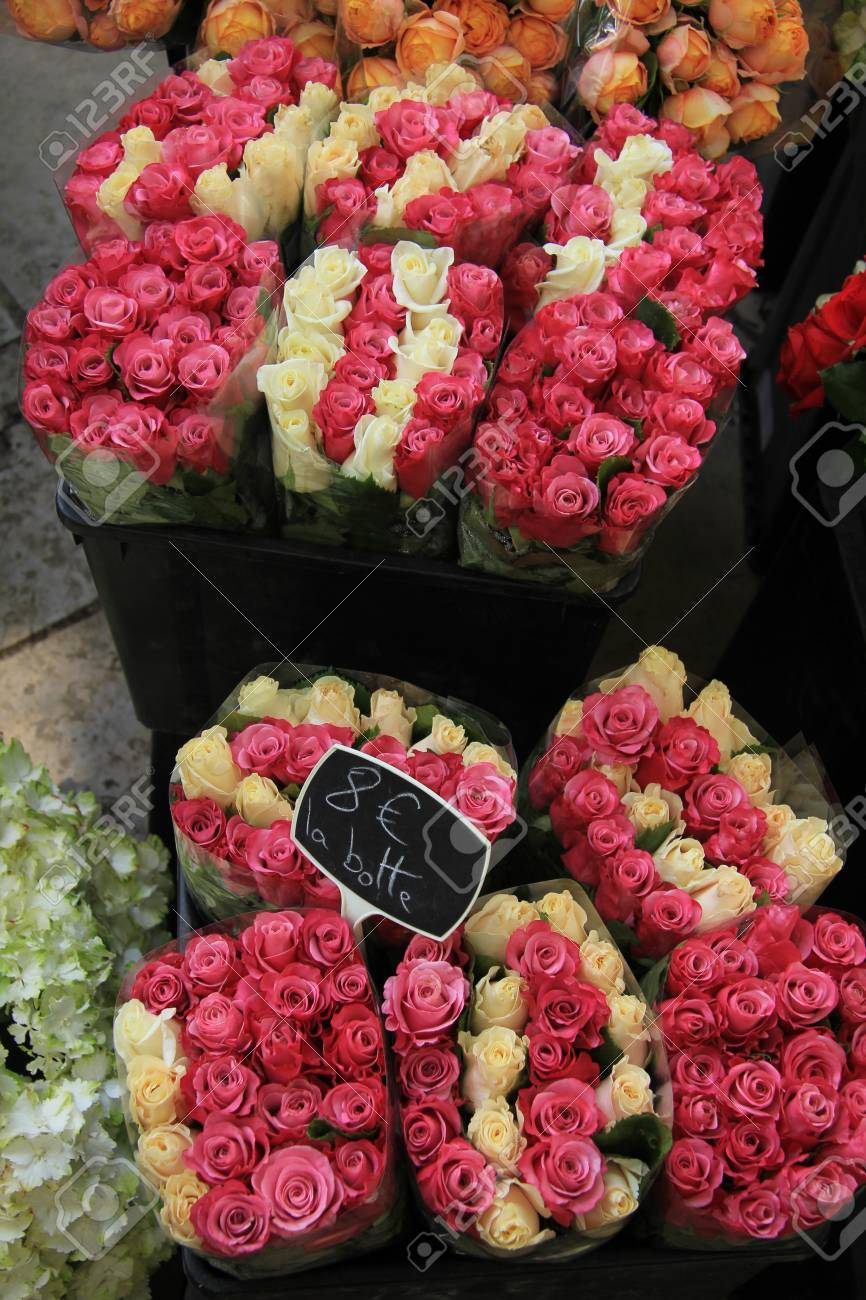 Rose Bouquets In Various Colors At The Flower Market In Aix En