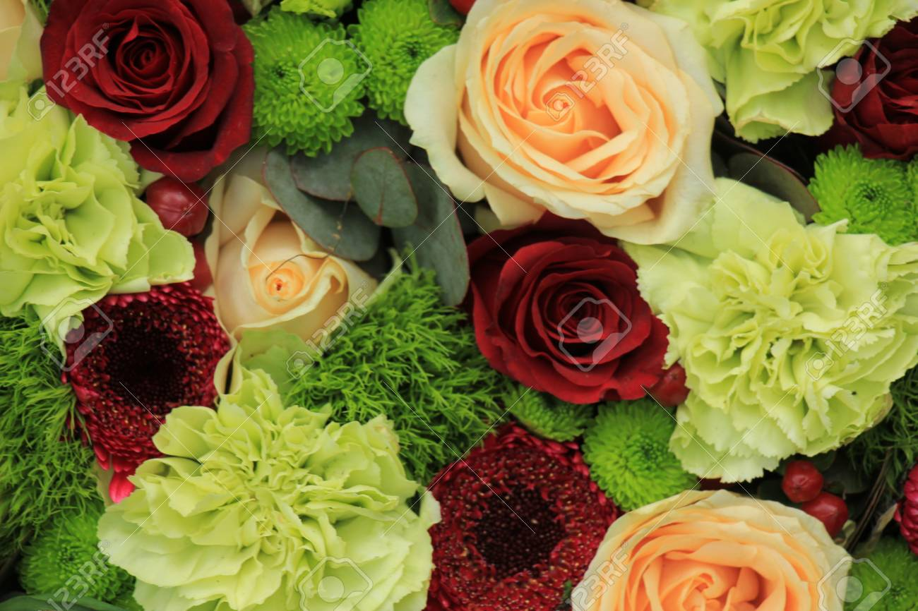 Floral Wedding Decorations In Pink And Green Stock Photo Picture