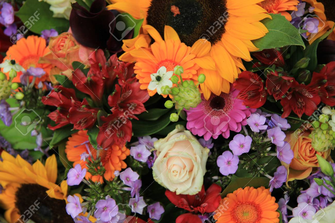 Colorful Summer Bouquet, Mixed Flowers In Bright Colors Stock Photo ...