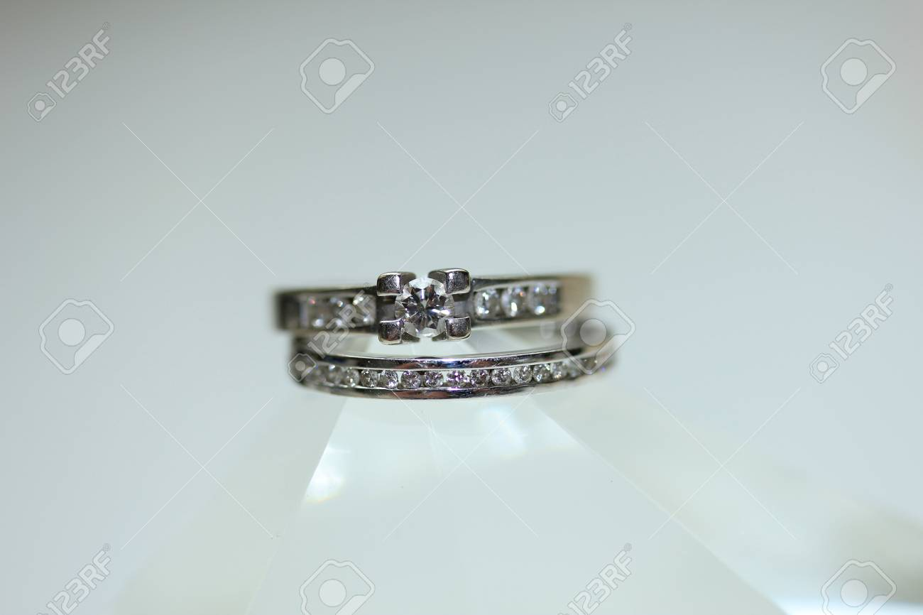 Diamond Channel Set Engagement Ring And Wedding Band In White