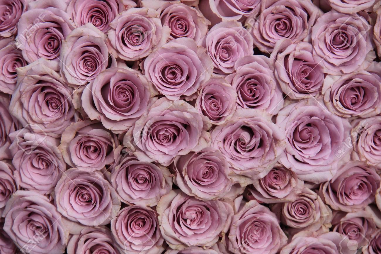Rosas Púrpuras En Un Arreglo Floral Grande De La Boda