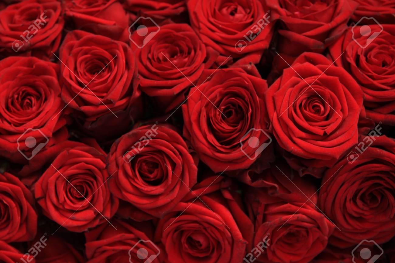 Grandes Rosas Rojas En Un Arreglo Floral De La Boda
