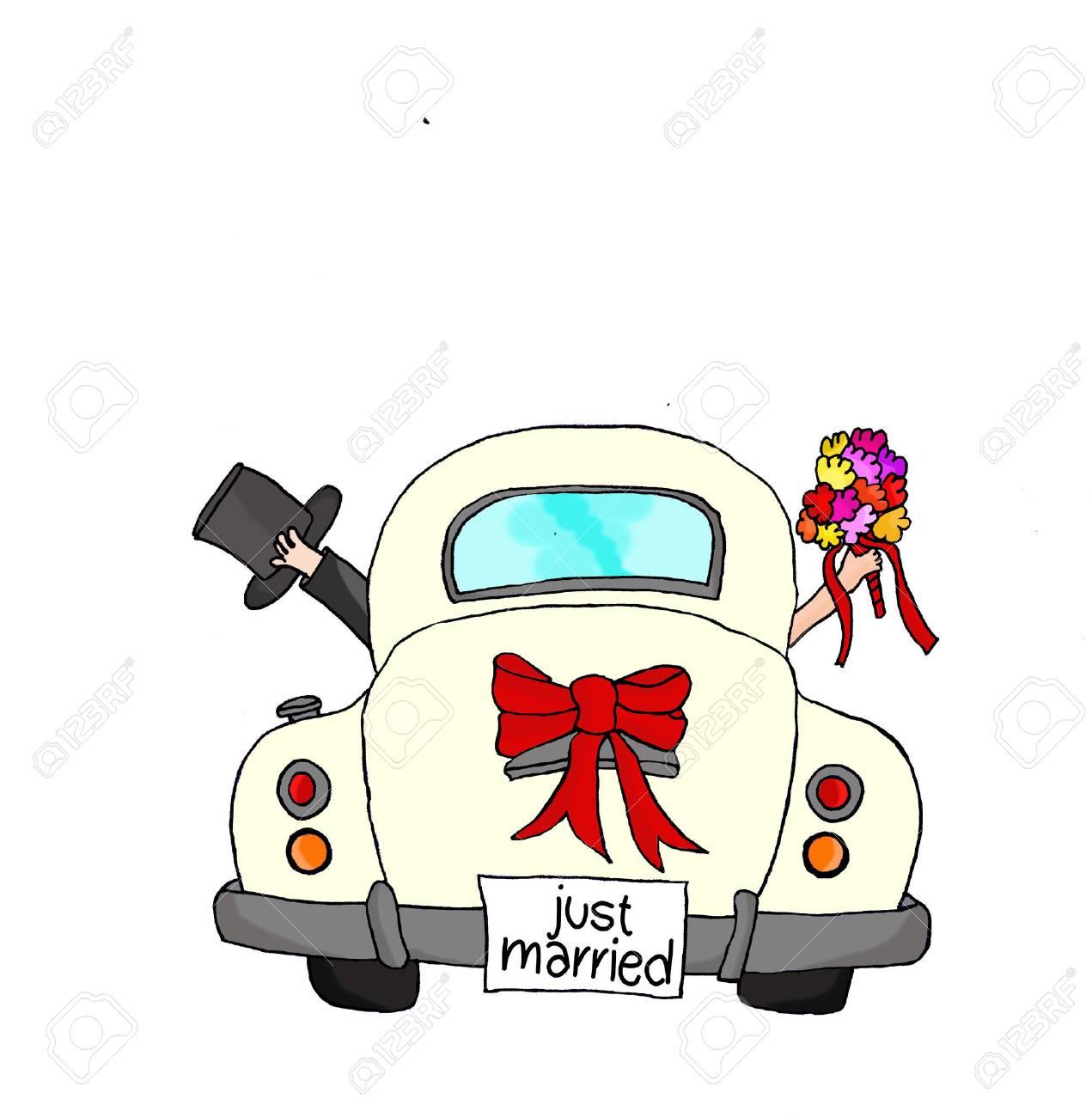 Hochzeitsauto just married vorlage
