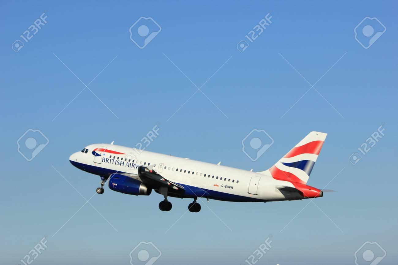 Amsterdam, the Netherlands - August, 18th 2016: G-EUPN British Airways Airbus A319, taking off from Polderbaan Runway Amsterdam Airport Schiphol - 74274916