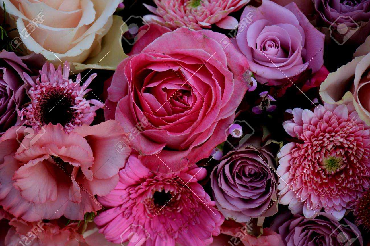 Mixed Flowers In Different Shades Of Pink In A Floral Wedding