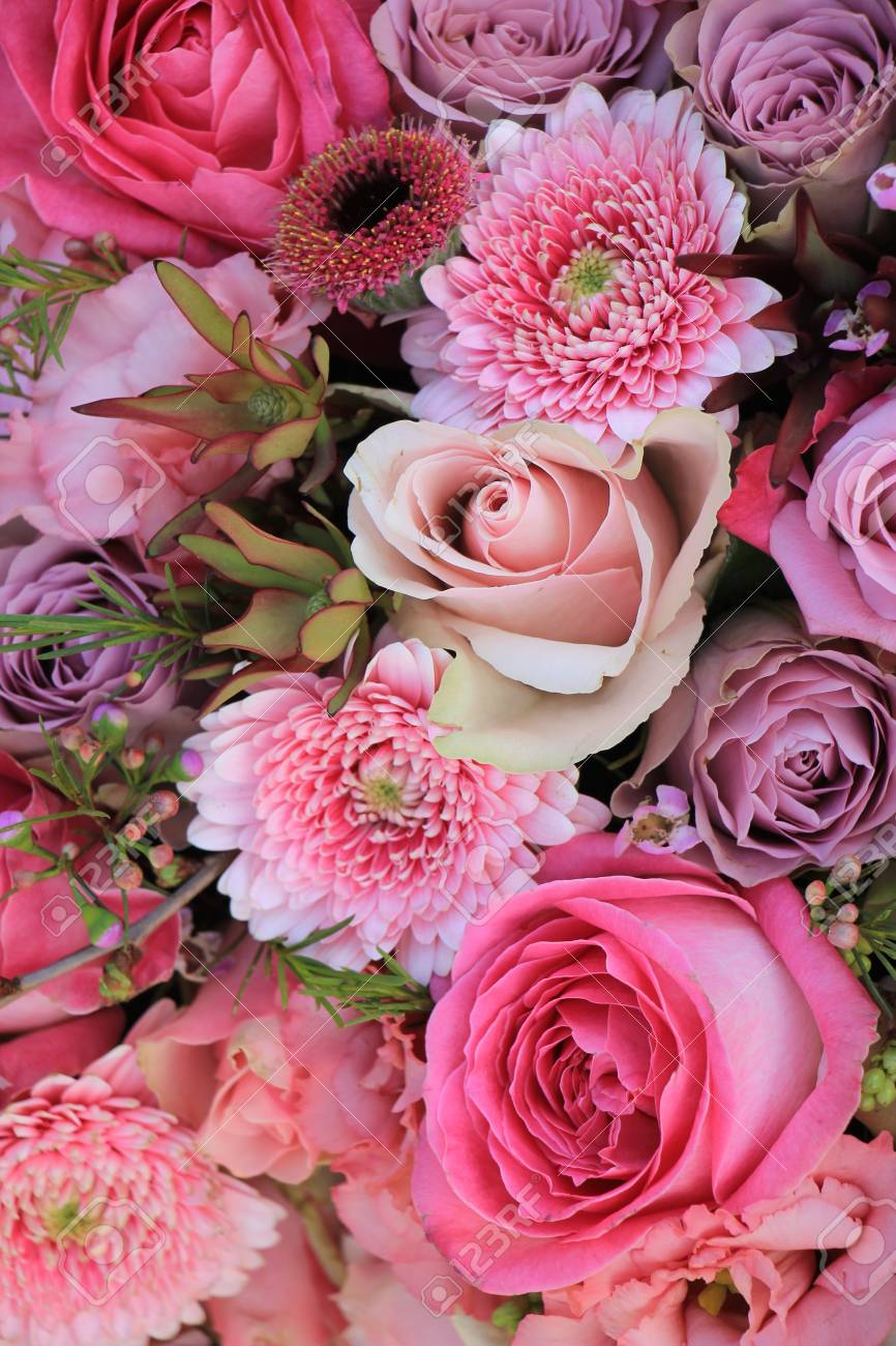Mixed Flowers In Different Shades Of Pink In A Floral Wedding ...