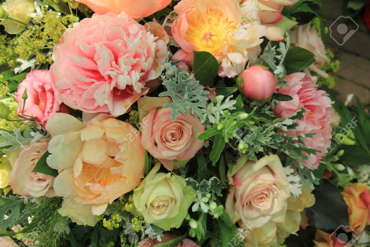 Mixed Spring Bouquet: Roses And Peonies In Pale Pink Colors Stock Photo    81550569