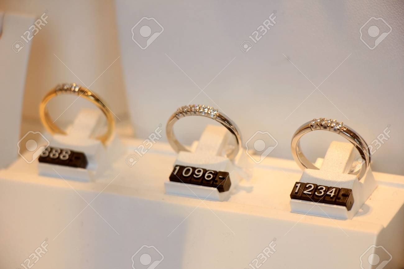 photo in jewelry gold shop space rings the copy with diamonds toned window