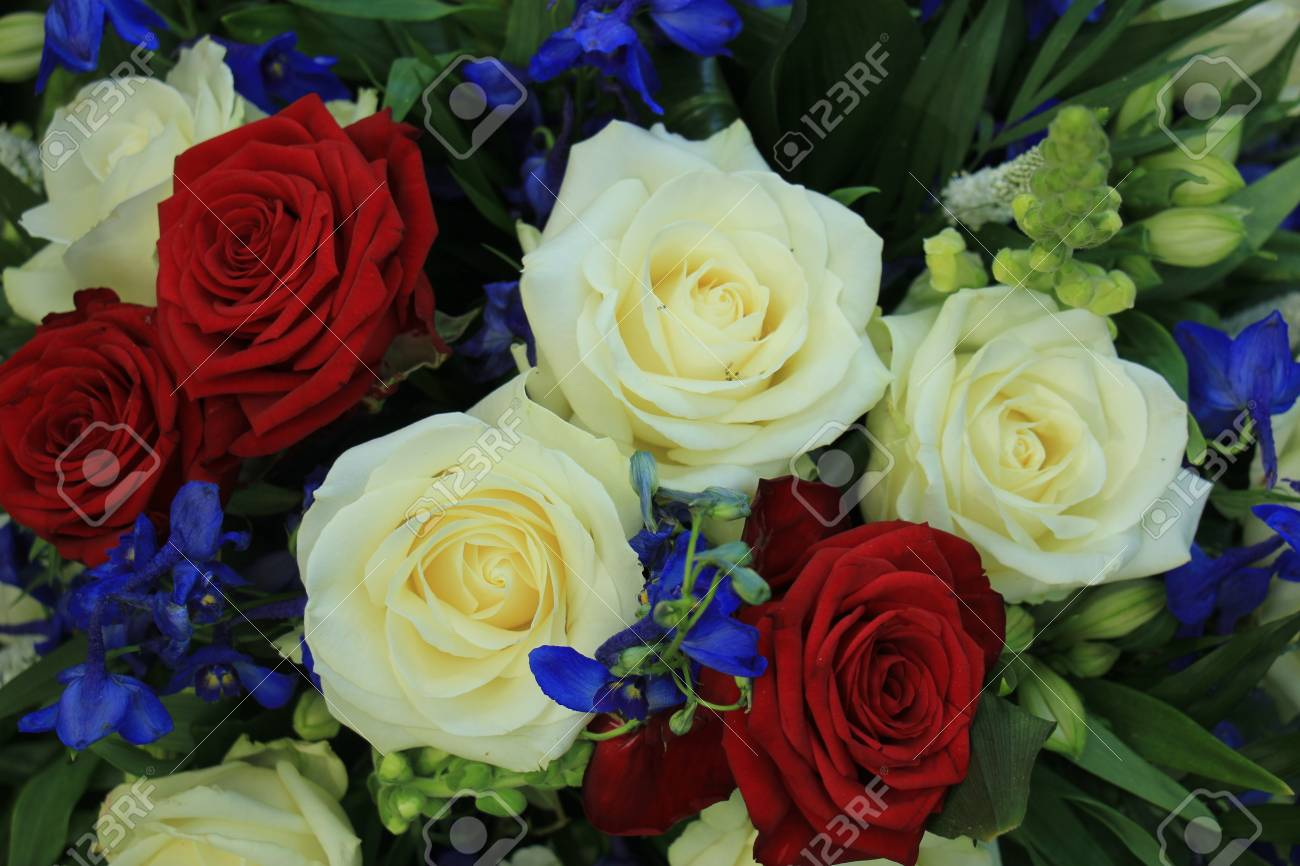 Wedding Flowers In Red White And Blue Patriotic Theme Wedding