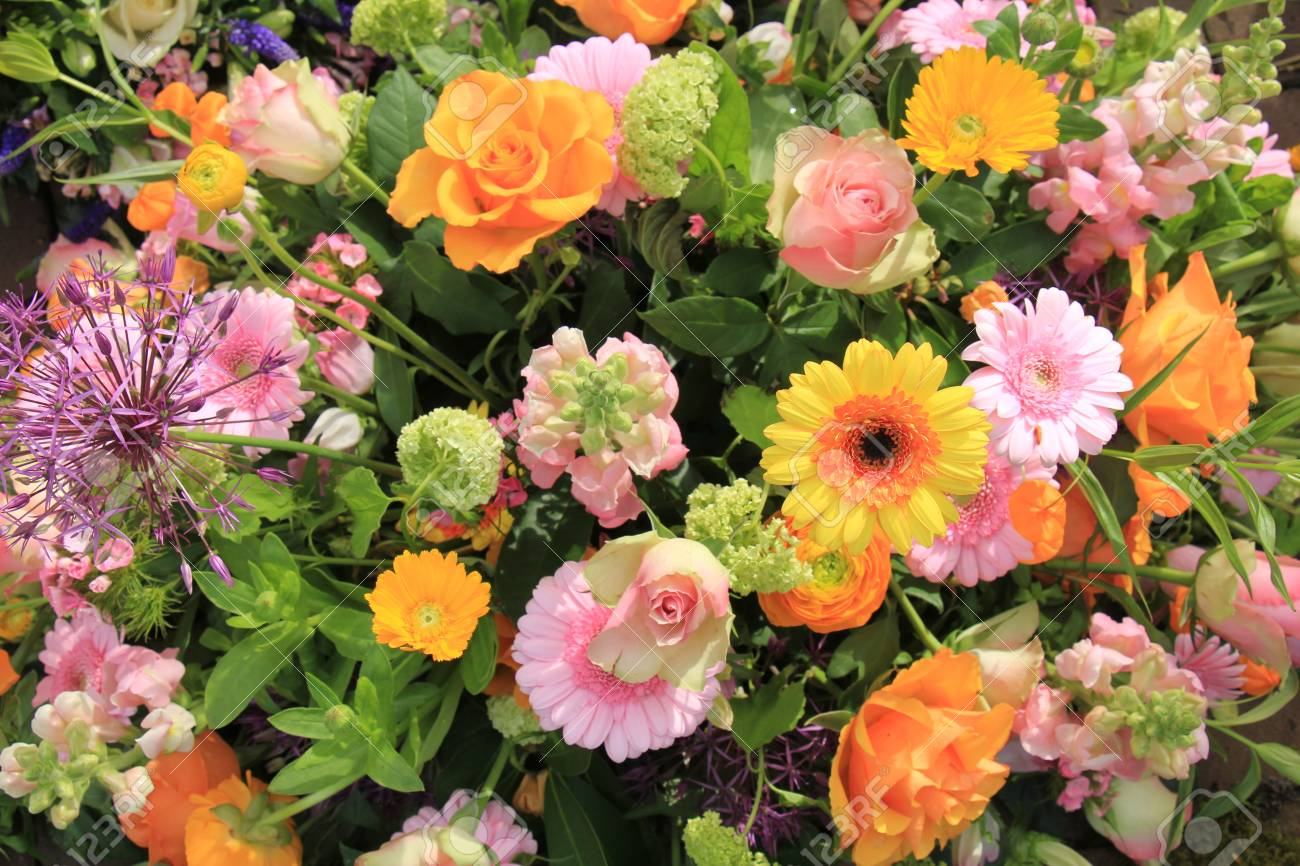 Mixed Flower Arrangement Various Flowers In Different Shades