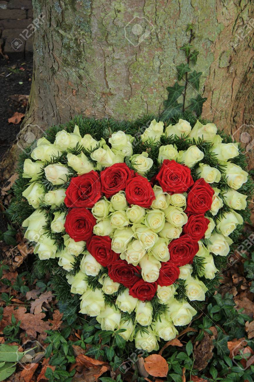 Red and white heart shaped sympathy flowers or funeral flowers red and white heart shaped sympathy flowers or funeral flowers near a tree stock photo izmirmasajfo