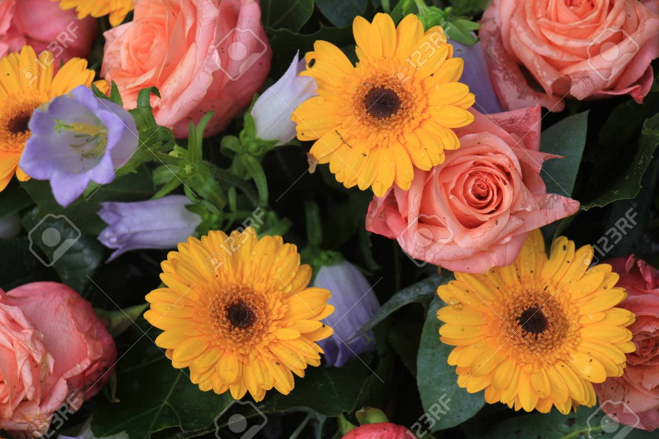 Mixed Flower Arrangement Various Flowers In Different Shades Of