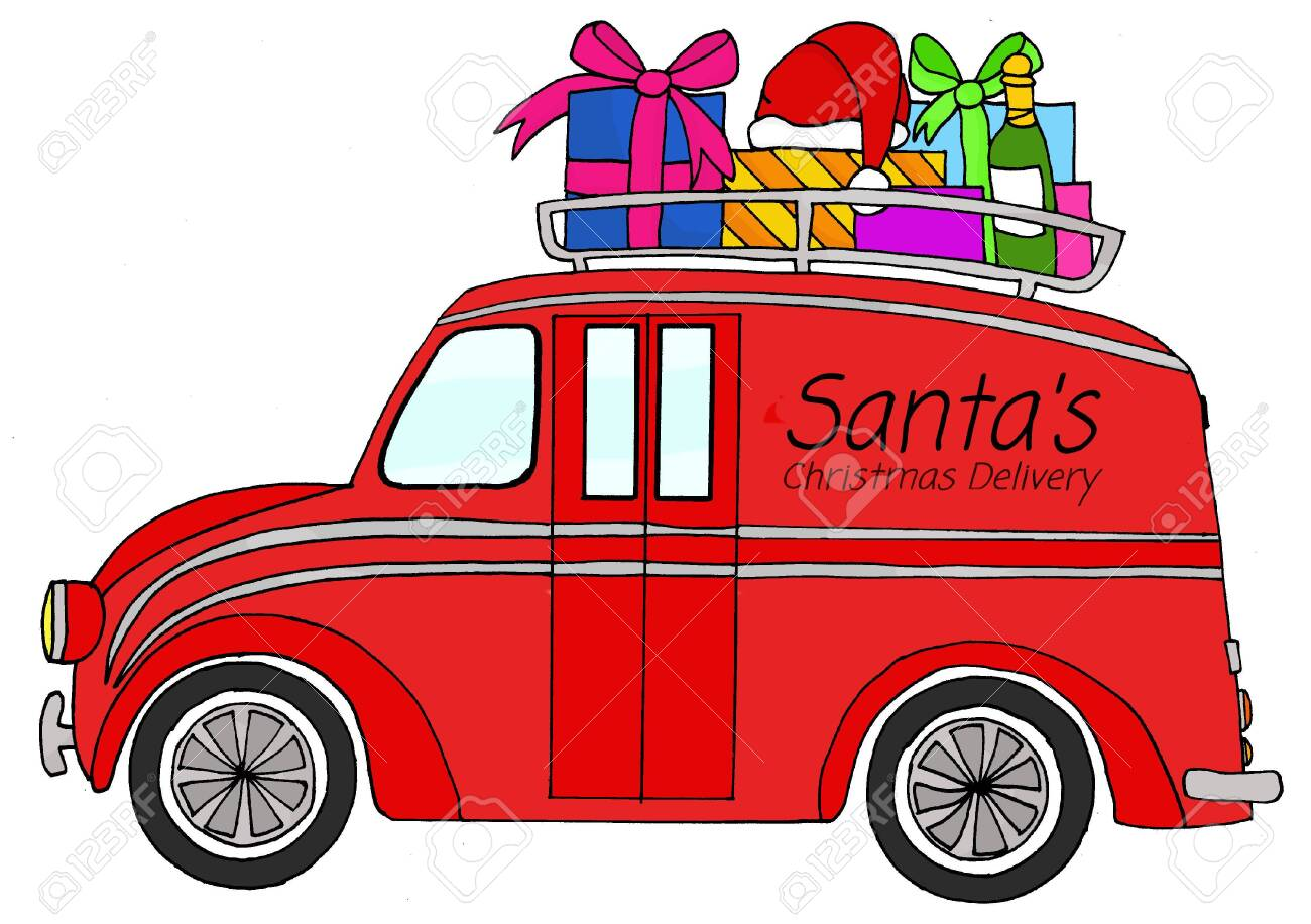 Hand Drawn Delivery Truck With Christmas Gifts On Roof Stock Photo Picture And Royalty Free Image Image 129825638