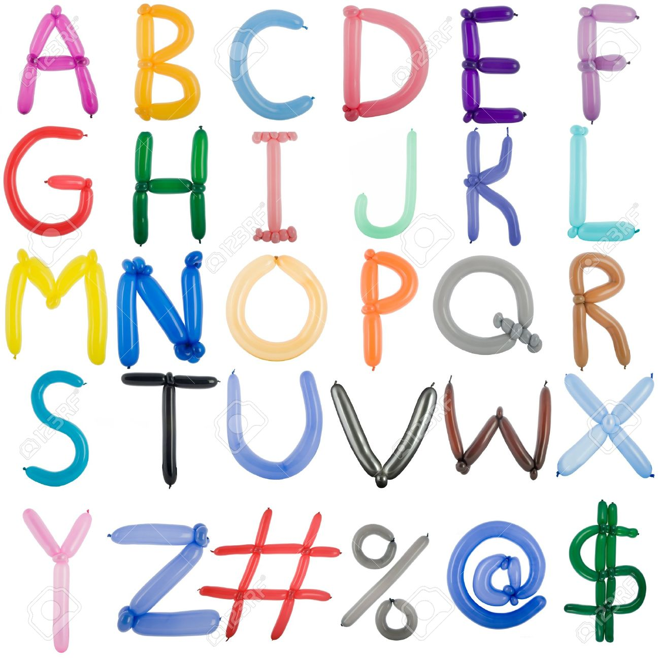 Twisted balloon fonts full set of upper case A,B,C,    and some symbols Stock Photo - 14860339