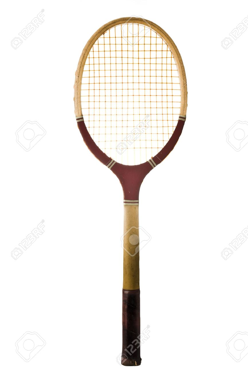 Old Vintage Tennis Racket Isolated On White Stock Photo Picture And