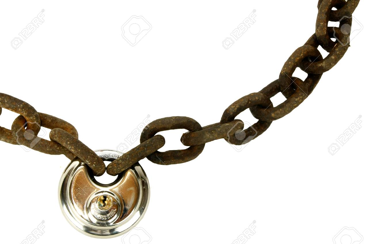 Rusty chain with new lock Stock Photo - 14860762