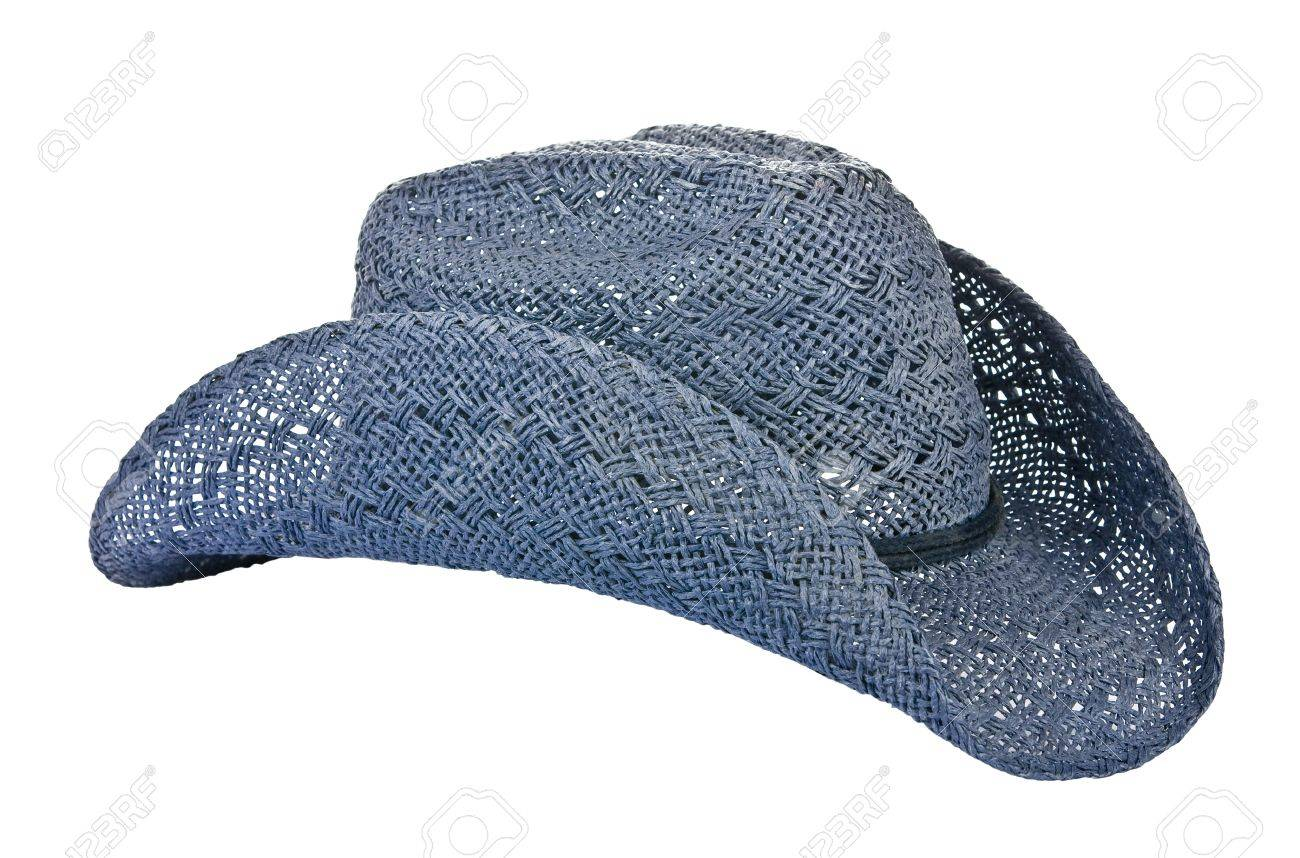 American blue straw cowboy hat isolated on white Stock Photo - 15815487 d3da01a65fca