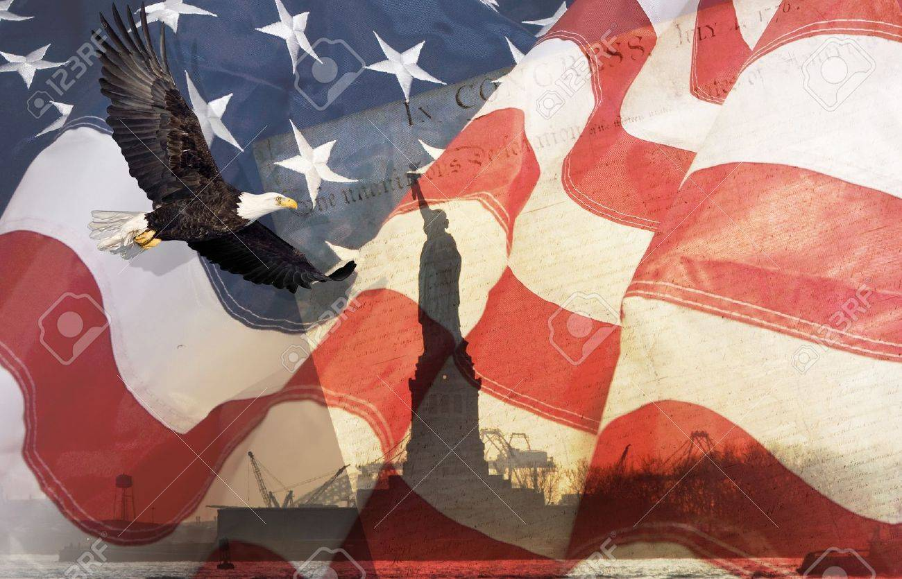 American Flag, flying bald Eagle,statue of liberty and Constitution montage Stock Photo - 15039379