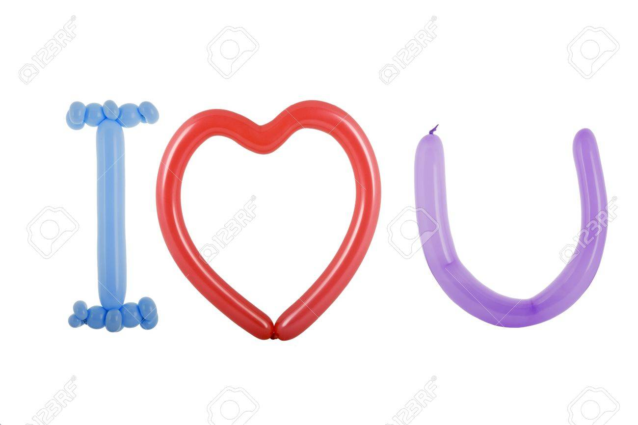 i love you symbols made with balloons stock photo, picture and