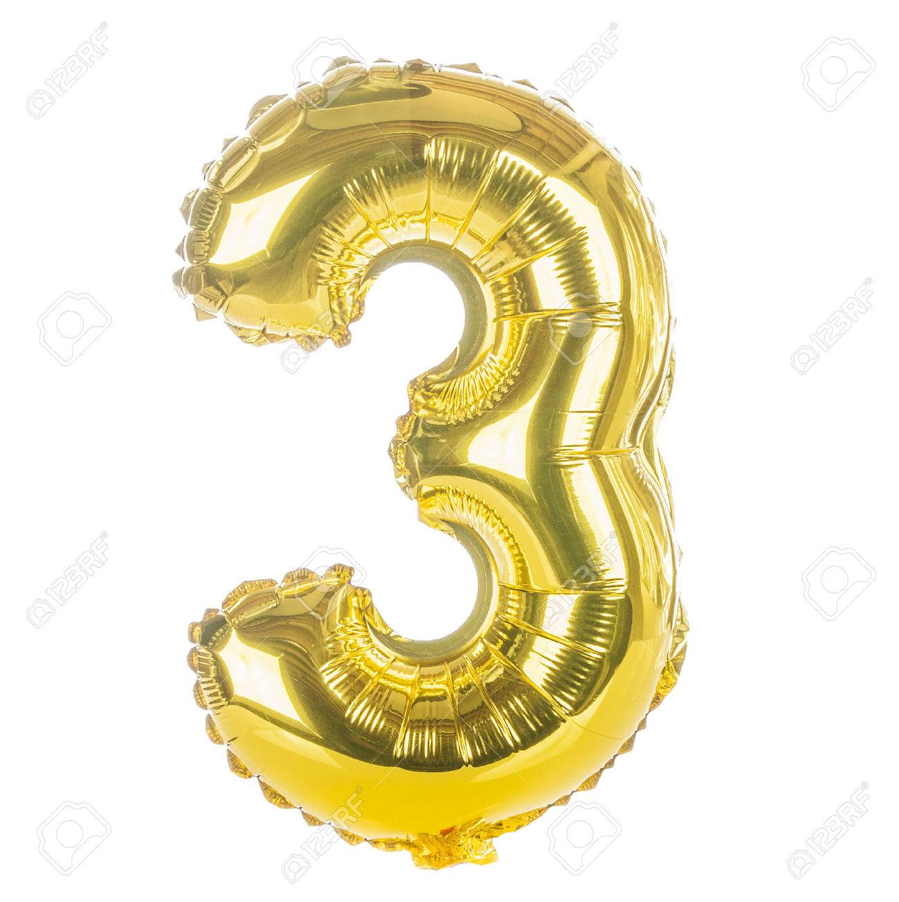 Gold balloon font part of full set of numbers, number three,3 - 24069614