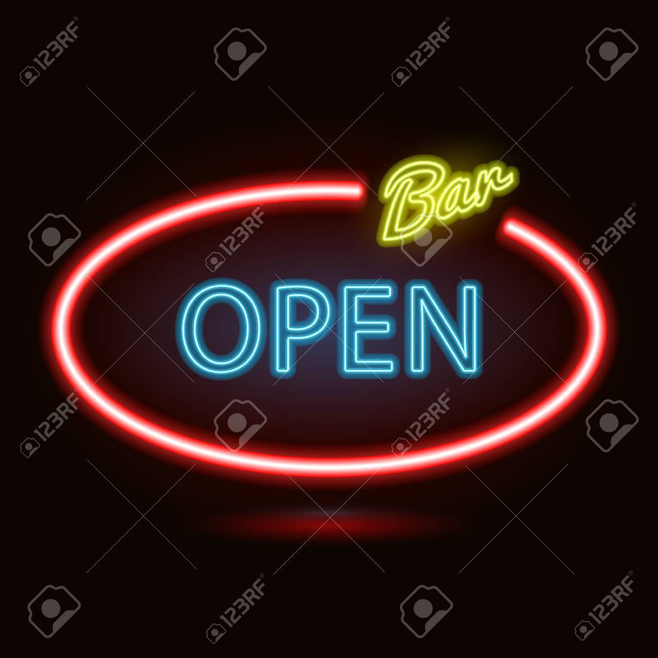 Neon sign with type bar open red and blue and yellow neon lights neon sign with type bar open red and blue and yellow neon lights mozeypictures Gallery