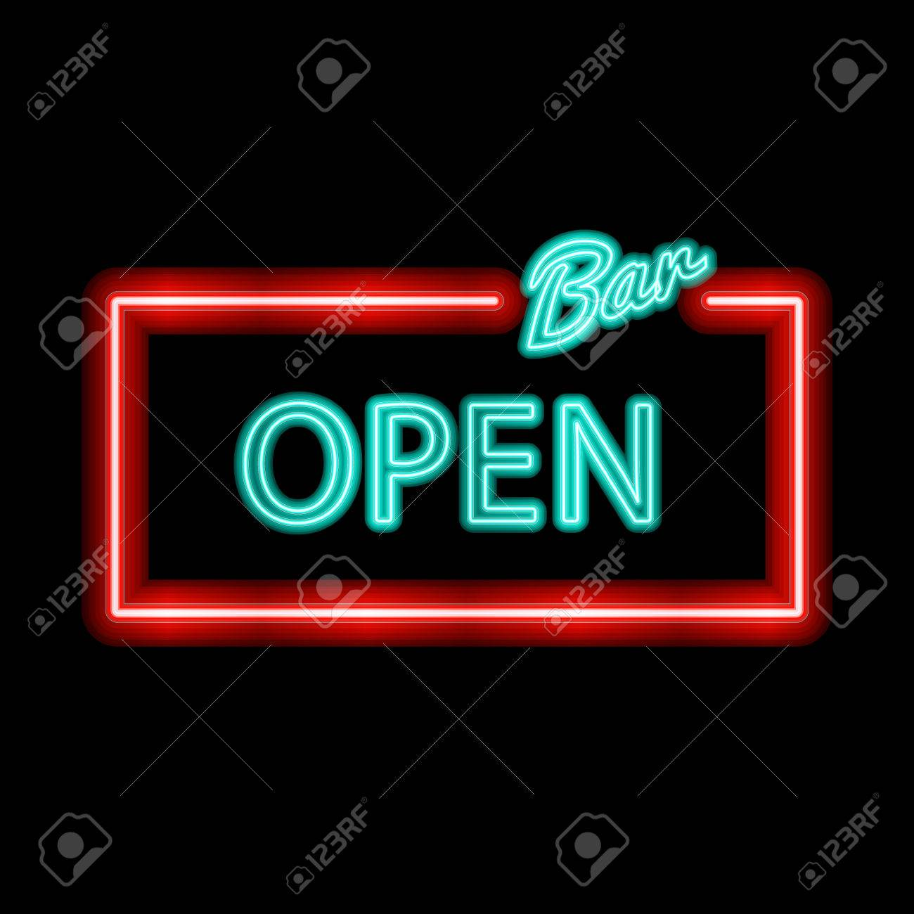 Neon Sign With Type Bar Open Red And Blue Neon Lights