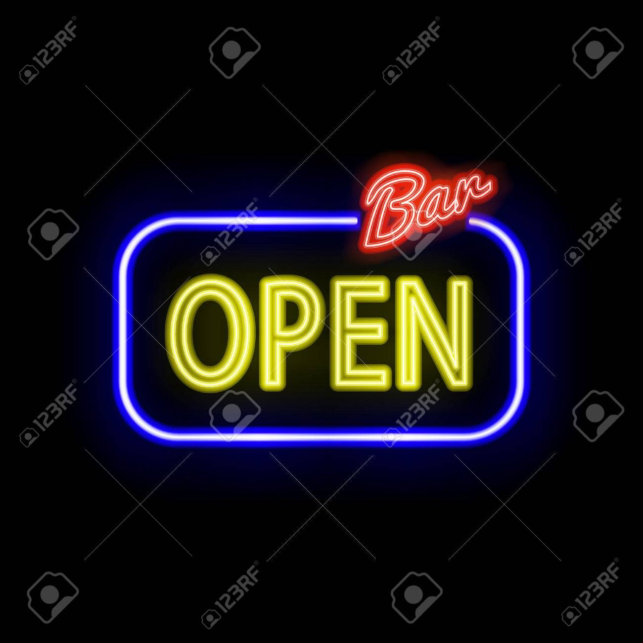 Neon sign with type bar open red and blue neon lights royalty neon sign with type bar open red and blue neon lights stock vector mozeypictures Gallery