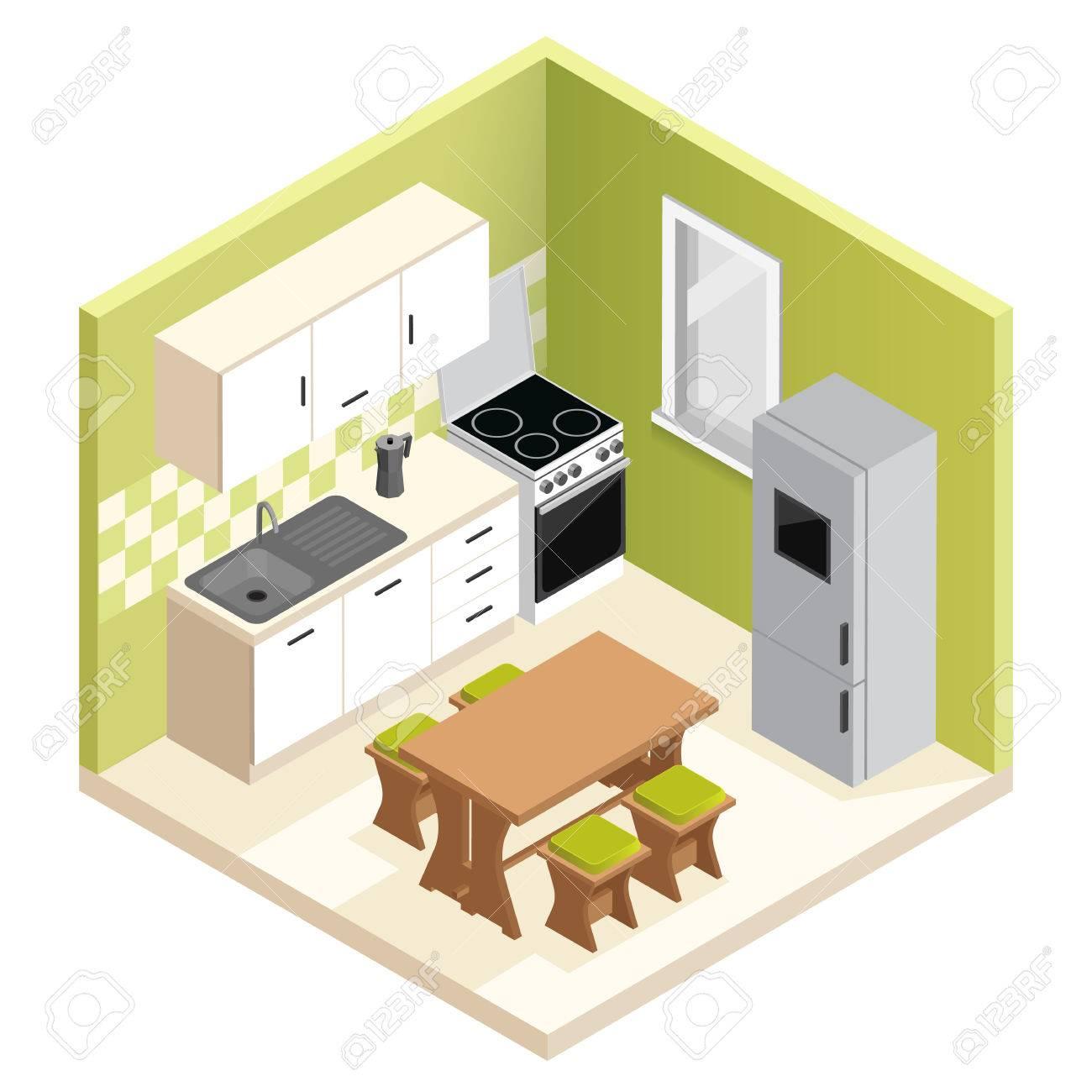 Isometric Room Interior Design Miniature Apartment Kitchen Vector
