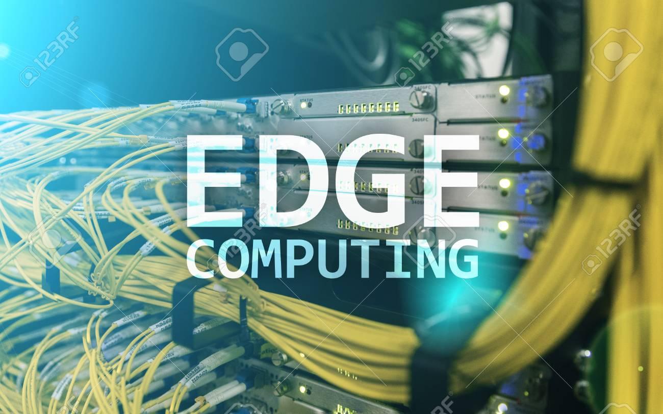EDGE computing, internet and modern technology concept on modern server room background. - 103941095