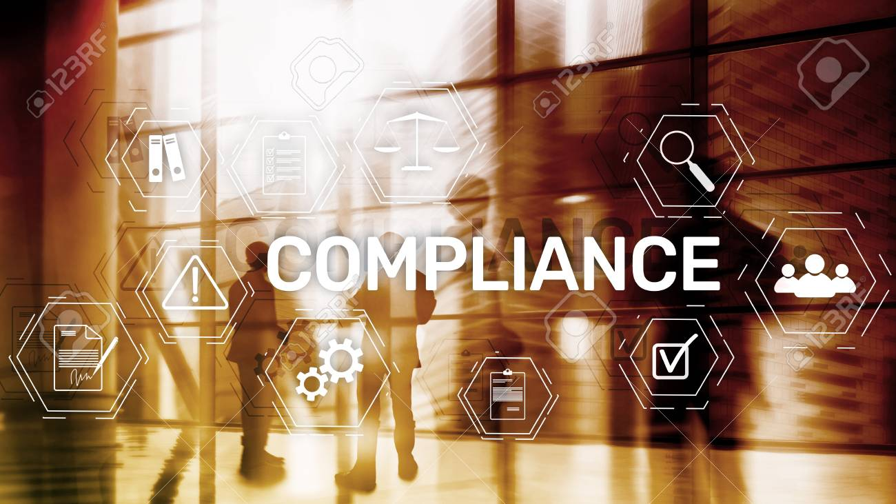 Compliance diagram with icons. Business concept on abstract background. - 107780400
