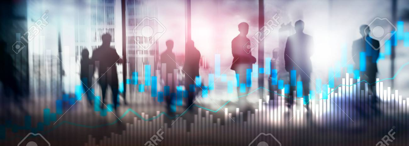 stock photo - stock trading candlestick chart and diagrams on blurred  office center background