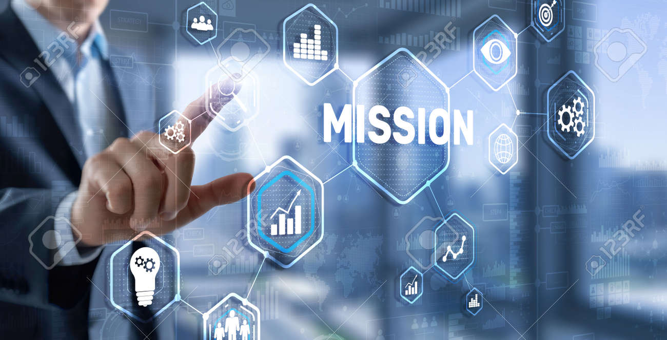 Mission concept. Finacial success chart concept on virtual screen. Business background. - 158664216